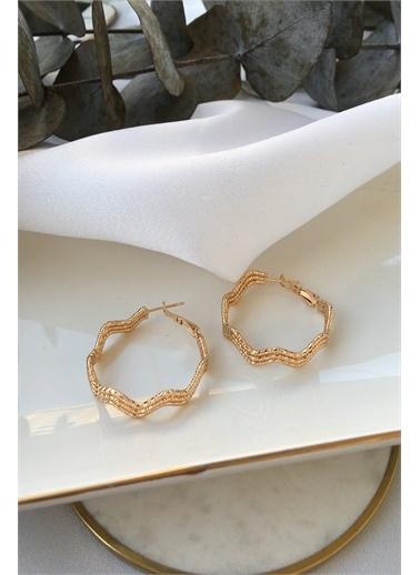 My Joyas Design My Joyas Design Dalga Görünümlü  Kadın Halka Küpe Altın